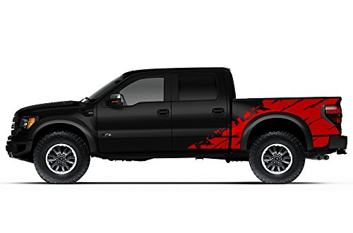 "Ford F-150 Raptor SVT 2010-2014 Crew Cab Standard Bed ""RAPTOR"" SHREDS V2 Graphics Kit 3M Vinyl Decal Wrap - Dark Red"
