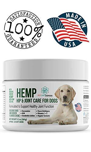 (PET CARE Sciences Hemp Hip & Joint Dog Treats | Also Stress, Anxiety, Calming Chew | Turmeric, Glucosamine Chondroitin, MSM, Hemp | Made In The)
