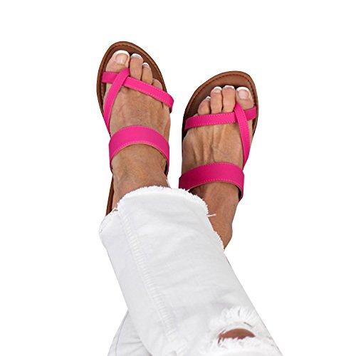 Coutgo Kvinna Sandaler Flip Flops Dubbelband Slide Strappy Sandal Röd