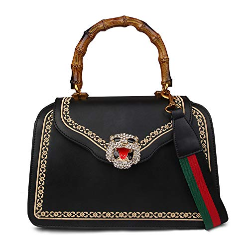 Beatfull Designer Top Handle Bags with Bamboo Handle, Fashion Tiger Shoulder Bag, Leather Handbags Purse (Black-tiger)