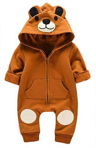 Toddler Boys Girls Autumn Cartoon Bear Hooded Romper Zipper Jumpsuit Outfits size 3-6 Months/66 (Brown)