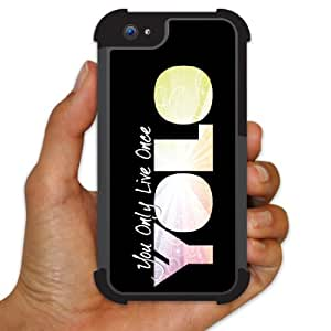 iPhone 5 BruteBox Case - YOLO (You Only Live Once) Black - 2 Part Rubber and Plastic Protective Case