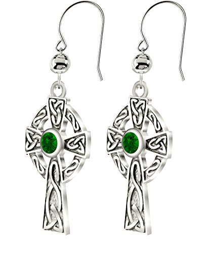 US Jewels And Gems New 0.925 Sterling Silver Irish Celtic Knot Cross Earrings with Simulated Emerald May Birthstone