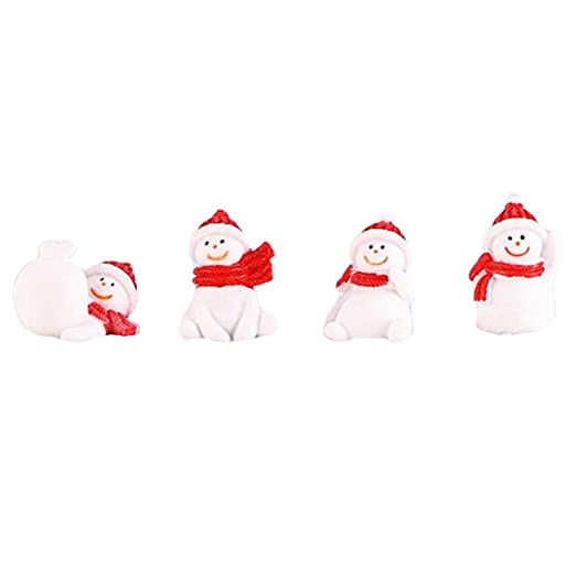 Amosfun 4 Piezas miniaturas Navidad muñeco de Nieve Figuras ...