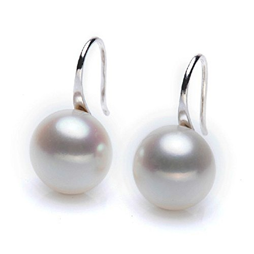 MAIDIEN Freshwater White Pearl Shell Stud Earrings Jewelry For Girls (Freshwater Pearl Scarf Necklace)