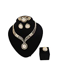 Paxuan Womens Silver Gold Plated Alloy Rhinestone African Jewelry Set Hallow Chain Choker Necklace Stud Earrings Cuff Bangle Bracelet Ring Set