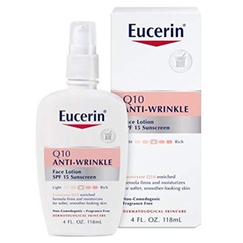 Eucerin Q10 Anti-Wrinkle Face Lotion with SPF 15 - Fragrance-Free, Moisturizes for Softer Smoother Skin - 4 fl. oz Bottle (Best Anti Wrinkle Hand Cream)