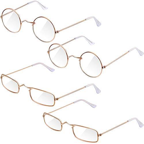 4 Pairs Old Man Costume Glasses Gold Santa Eyeglasses Gold Square Round Glasses