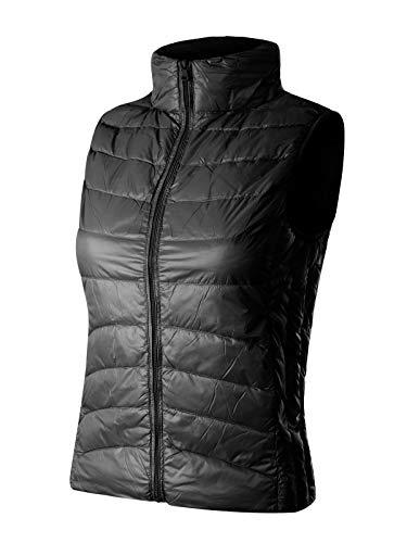 (Instar Mode Women's Stand Collar Lightweight Padded Zip Up Vest Black)