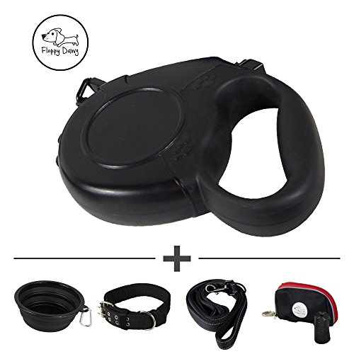 Dog Collar 16' Nylon (Floppy Dawg Matching Dog Leash and Collar for Large Dogs Includes 16 Foot Retractable Leash, Thick Nylon Collar, 6 Foot Leash and More | Features a 1 Button Break and Lock Safety System)