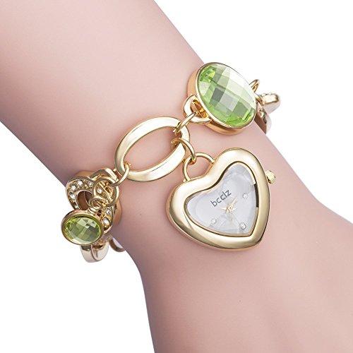 bcclz Ms. Love Green Red Gemstone Bracelet Watches In (Gemstone Bracelet Watch)