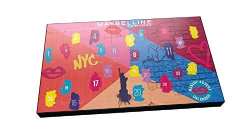 🥇 Maybelline New York Calendario de Adviento de Maquillaje con 24 productos tamaño estándar Navidad 2020