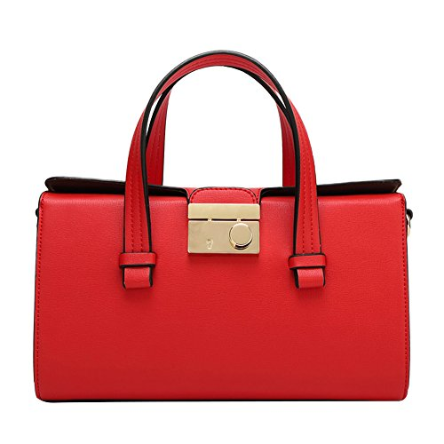 Moondosa Womens Candy Color Leather Shoulder Crossbody Bag Top Handle Bag Casual Handbag(red)