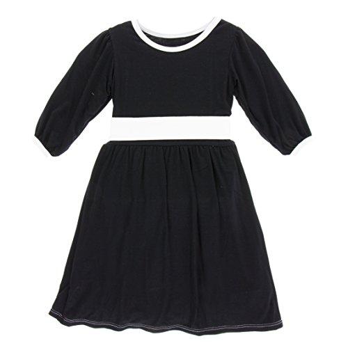 KicKee Pants Little Girls Solid Long Sleeve Oh La La Dress, Midnight, 3T by Kickee Pants