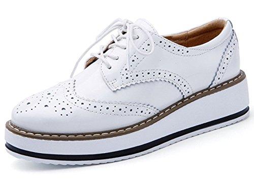 DADAWEN Chaussures Plateforme Baskets Ville Femmes à Derbies Brogues Lacets de Cuir r7nW1xcqrB
