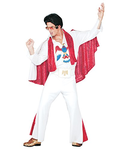 Deluxe Official Elvis Costume White Jumpsuit Red Cape Elvis Impersonator Sizes: One Size]()