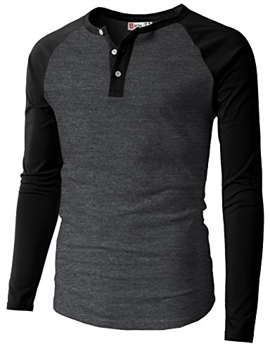 Grey Wool Henley Sweater - H2H Men's Alpaca Wool Crewneck Sweater Henley T-Shirts CHARCOALBLACK US 3XL/Asia 4XL (CMTTL077)
