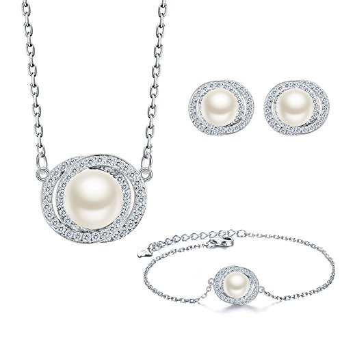 EleQueen 925 Sterling Silver CZ AAA Circle Button Cream Freshwater Cultured Pearl Necklace Earrings Bracelet Set For Brides