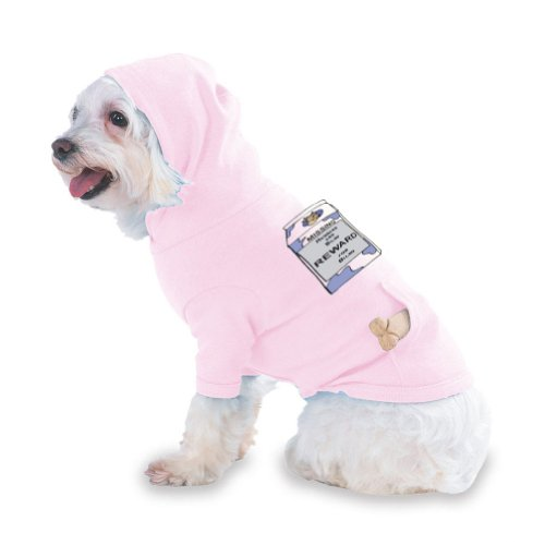 Missing Husband and Dildo Reward for Dildo Hooded (Hoody) T-Shirt with pocket for your Dog or Cat Size XS Lt Pink, My Pet Supplies