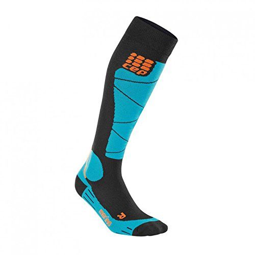 CEP Women's Progressive+Ski Merino Socks (Black/Azure) Size II