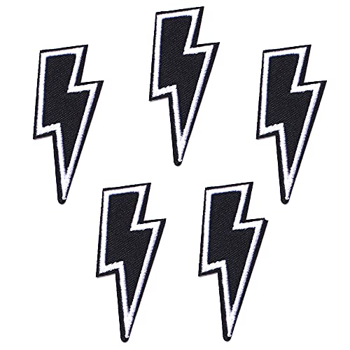 Harsgs Black Lighting Patches, Embroidered Iron On/Sew On Patches, Cute Applique Patches for Clothing, Jackets, Hats, Backpacks, Jeans (Pack of 5)