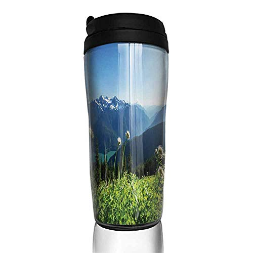 - coffee cups for mom and dad Nature,Diablo Lake Washington Mountains Dandelions Thistle Flowers Wilderness Image,Green Sky Blue 12 oz,coffee packets for 12 cup coffee maker