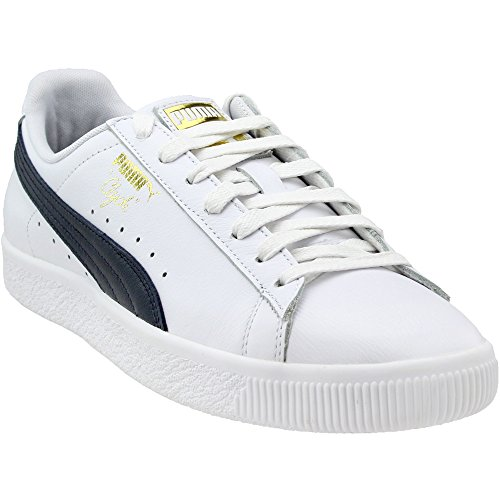 Puma Clyde - PUMA Select Men's Clyde Sneakers, White/New Navy/Gold, 9.5 D(M) US