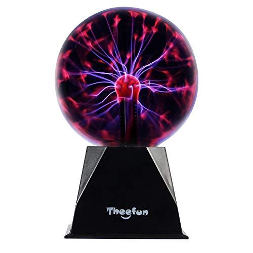 Theefun True 6 Magic Plasma Ball , Touch & Sound Sensitive Plasma Lamp Light, Nebula Sphere Globe Novelty Toy for Decorations/Kids/Bedroom