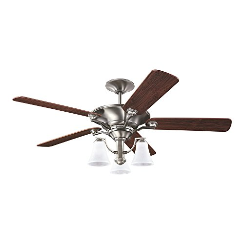 Sea Gull Lighting 15170B-965 Somerton Three-Light 56-Inch, 5-Blade Ceiling Fan, Teak Wood Grain and Antique Brushed Nickel Finish (Nickel Finish 56 Antique)