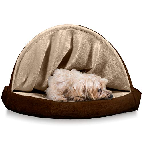 FurHaven Pet Dog Bed | Cooling Gel Memory Foam Orthopedic Round Microvelvet Snuggery Pet Bed for Dogs & Cats, Espresso, 26-Inch ()