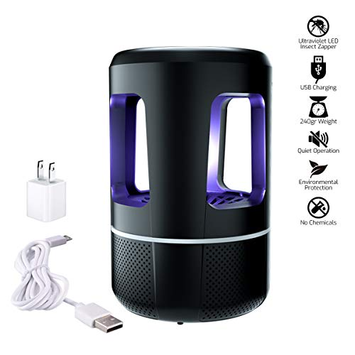 Indoor Electronic Insect Killer, LED Trap Light - Safe Chemical-Free UV Physical Mosquito Lamp, USB Powered Vortex Suction Super Silent, Eliminates Most Flying Pests for -