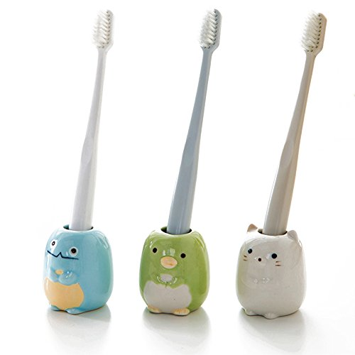 Hallowon Toothbrush Holder Ceramic Toothbrush Stand for Kids
