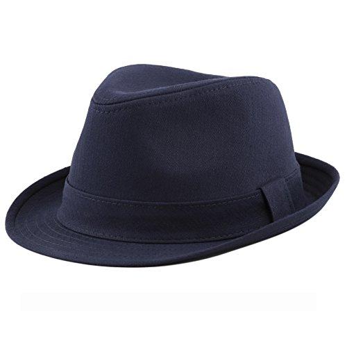 THE HAT DEPOT Unisex Cotton Twill Herringbone Fedora Hat (L/XL, Navy)
