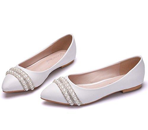 Pumps Damen Absätze Strass Weiß Schlüpfen Hochzeit Wohnungen Faulenzer Größe Damen Schuhe Perle White 35 Funkeln Braut Ballett Niedrig 42 wrzgAq7w