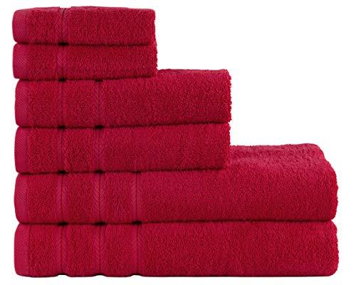 Comfort Realm Soft 6 Piece Towel Set, 600 GSM 100 Percent Cotton 2 Bath Towels 2 Hand Towels 2 Face Towel (Red)