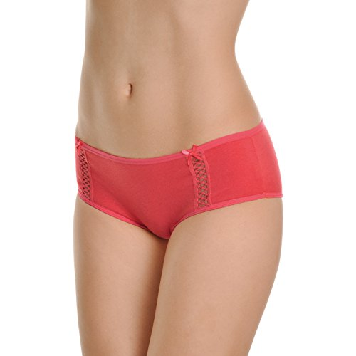 Angelina Cotton Hiphuggers with Stretch Net Lace Detail (6-Pack), (Soft Hip Hugger)