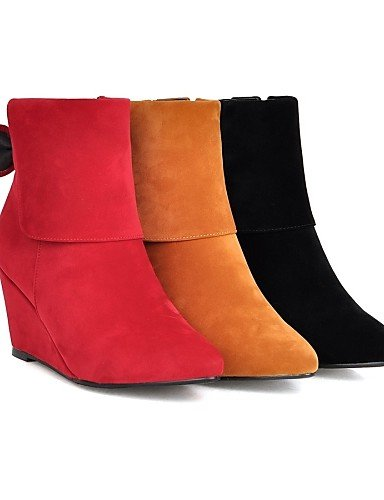 5 Moda Negro Amarillo Mujer Puntiagudos Rojo Uk8 Vestido Casual Cuñas Uk7 Red De La Tacón Eu40 Xzz Zapatos us9 Cn43 Vellón Cuña Botas us10 A Yellow Eu42 Cn41 5 v6qHEZ