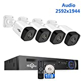 【2592 by 1944 Pixels】 UltraHD PoE Security Camera System,4Pcs Cameras+8Channel NVR,Phone&PC Remote,Microphone,Night Vision,Waterproof,Onvif,Motion Alert,24/7 Recording,H.265+,1TB HDD