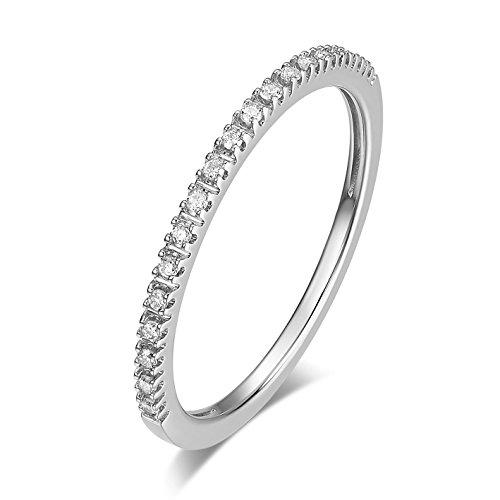 Gold White Ring Diamond Eternity - 14K Gold Riviera Petite Micropave Diamond Half Eternity Wedding Band Ring for Women, 1.5mm (White-Gold, 6.5)