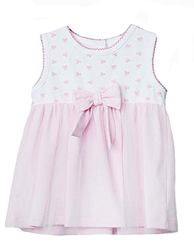 Alpakaandmore Spotted Short Sleeve Baby Girl Dress Pink / White 100% Peruvian Pima Cotton (18 Months)
