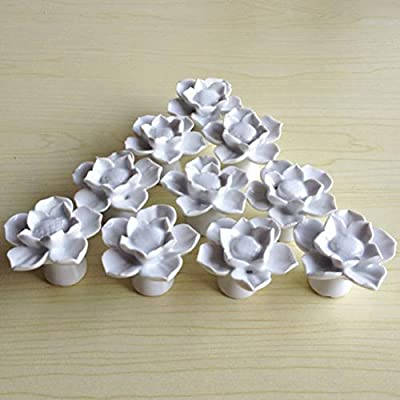 SunKni 41mm 10Pcs Lotus Flower Floral Knobs Ceramic Handles Pulls for Dresser Drawer Bathroom Cabinet Kitchen Cupboard Wardrobe Closet Furniture Door New Set with Screws 10 Pack