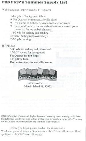 """Wall Hanging FLIP FLOPS SUMMER QUILT PATTERN~44/"""" Sq Cedar Creek Designs~ Pillow"""
