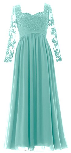 MACloth Evening Gown Turquoise Dress Sleeves Mother Women Formal the of Bride Long Maxi 7xxwU