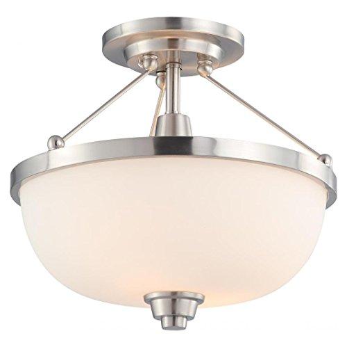 2 Lite Semi Flush (Helium - 2 Light Semi Flush Fixture W/ Satin White Glass)