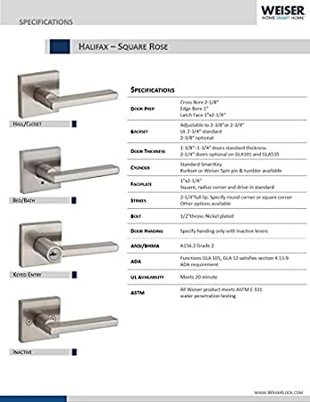 Halifax Lever by Kwikset US15 Weiser Satin Nickel Square Rose Privacy Function