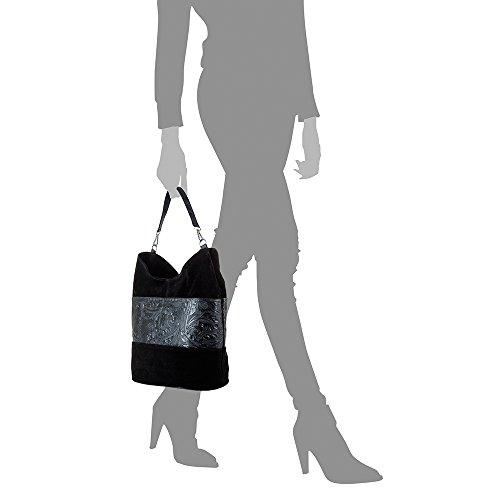 mujer cuero IN arabeskq1uLHLHRs FIRENZE de VERA ARTEGIANI cm MADE ITALIANA gamuza Negro ITALY Bolso Piel auténtica PELLE Color grande bag NEGRO 32x30x20 shopping franja grabado genuino piel piel Bolso con BXzRXrc