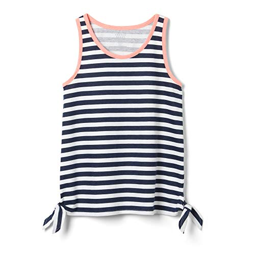 - French Toast Girls' Big Side Knot Tank Top, Navy, L (10/12)