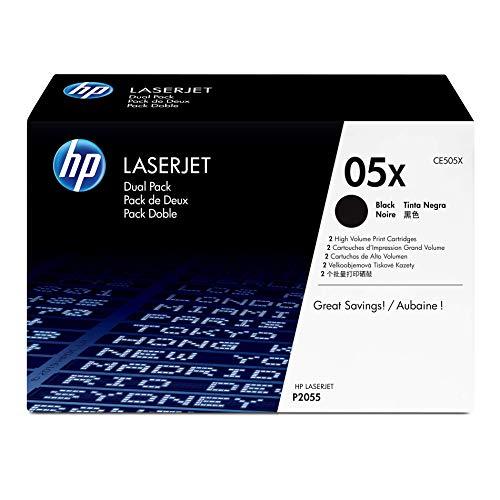 HP 05X (CE505X) Black Toner Cartridge High Yield, 2 Toner Cartridges (CE505XD) for HP P2055 P2055d P2055dn P2055x