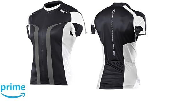 a2e9c46cc Amazon.com   2XU Elite Sublimated Cycle Jersey Female Black White Large    Swimming Equipment   Clothing