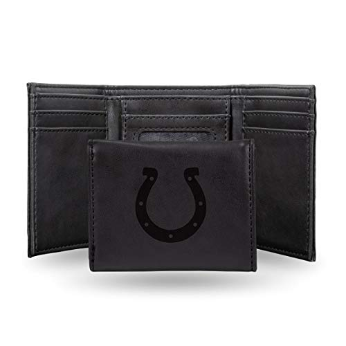 Rico Industries NFL Indianapolis Colts Laser Engraved Tri-Fold Wallet, Black